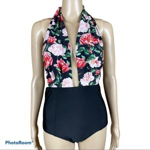 CUPSHE halter style backless floral swimsuit